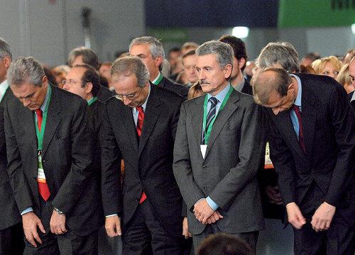 Da sinistra verso destra: Rutelli, Veltroni, D'Alema, Fassino