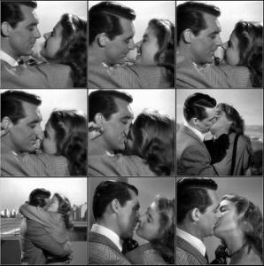 Cary Grant e Ingrid bergman si baciano in Notorious