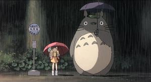 La scena della fermata dell'autobus con Totoro