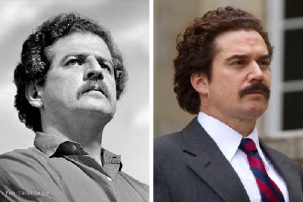 Luis Carlos Galán (sinistra) interpretato dall'attore Nicolás Montero. Galán fu uno dei più acerrimi nemici di Escobar che lo fece assassinare il 18 agosto 1989 durante un comizio per l'elezione a presidente della Repubblica che avrebbe probabilmente conquistato