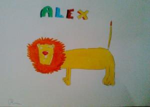 Alex il leone non è mai stato così bello come nel disegno di Olivia