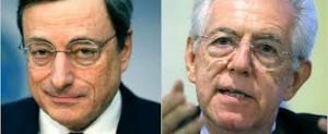 Mario Draghi e Mario Monti. Il primo presidente della Banca centrale europea, il secondo ex-commissario europeo alla concorrenza ed ex-primo ministro italiano.