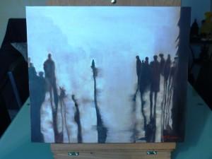 Passeggiando nella nebbia (olio su cartone telato), di Manuela Lavezzi