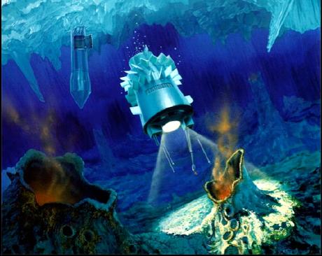 Riproduzione del sottomarino hydrobot sotto il presunto oceano di Europa. Visibili le ipotetiche sorgenti idrotermali. [Immagine: NASA]