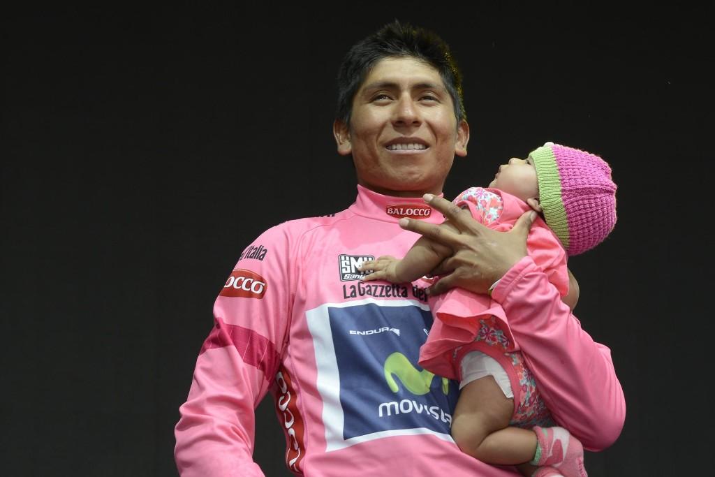 Il colombiano Quintana sul podio (foto G. Montenero)