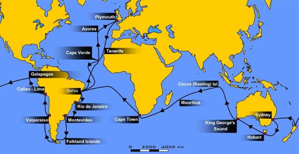 Il viaggio del Beagle a cui prese parte Darwin che s'imbarco all'età di 22 anni