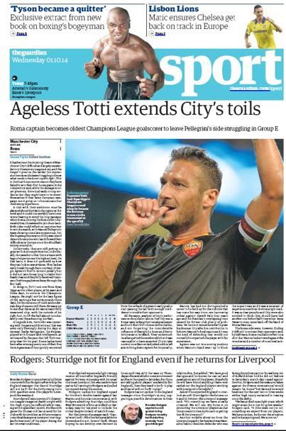 """Totti celebrato da """"The Guardian"""""""