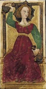 Tarocchi miniati di Carlo Vi. La temperanza.