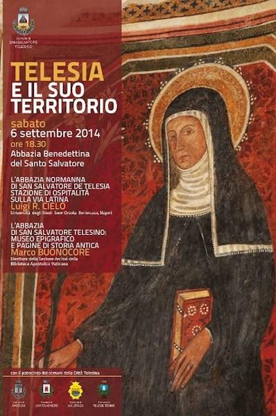 Locandina del secondo appuntamento del ciclo di conferenze Telesia ed il suo territorio, presso l'Abbazia Benedettina del Santo Salvatore