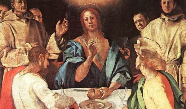 Cena in Emmaus particolare Firenze Galleria degli Uffizi
