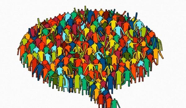 Group of people in shape of speech bubble