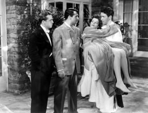 John Howard (promesso sposo), Cary Grant (ex marito), Katharine Hepburn (algida dea, promessa spossa, ex moglie, amante irraggiungibile) e James Stewart (tenero scrittore, illuso amante)