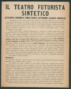 Manifesto del teatro sintetico futurista.