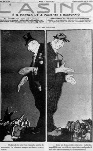 Una caricatura di Giolitti al tempo della guerra di Libia. Il Giovanni bifronte.
