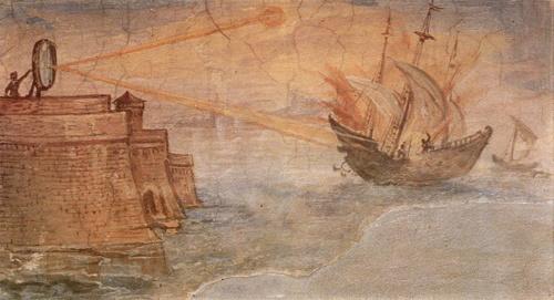 Gli specchi ustori usati da Archimede durante l'assedio di Siracusa in un dipinto di Giulio Parigi del 1600