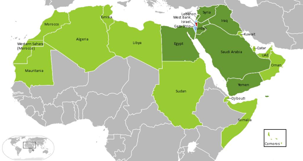 Israele e i membri della Lega araba. Verde chiaro, Lega araba. Verde scuro, paesi arabi che sono stati in guerra contro Israele. Celeste, Israele. Rosso, West Bank e striscia di Gaza