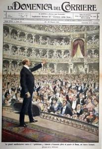 D'Annunzio al Teatro Costanzi di Roma.