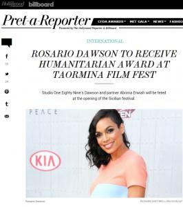 Rosario Dawson ospite premiata a Taormina