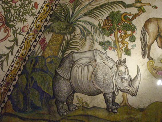 Il rinoceronte sul soffitto della casa di Juan de Vargas a Tunja (Colombia)