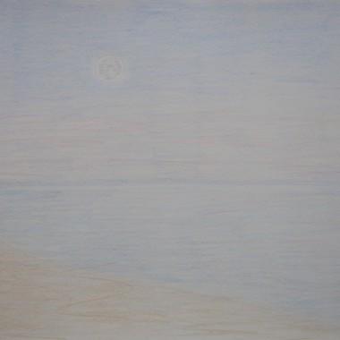 Luna piena sul mare al crepuscolo