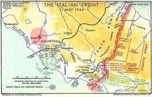 Il fronte nel 1944. La linea Gustav tenne in scacco per mesi gli alleati.