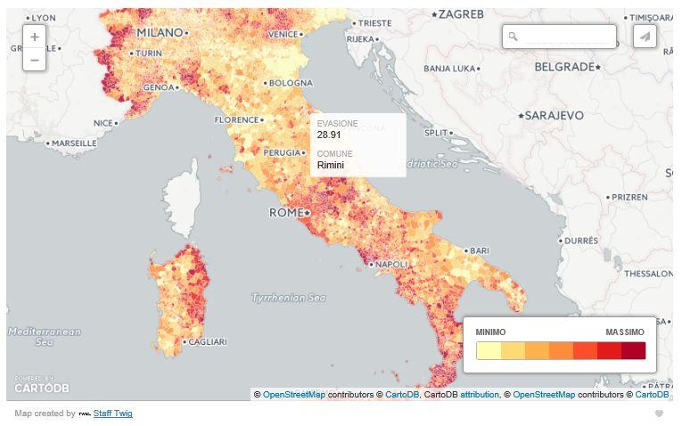 Mappa dell'evasione, comune per comune. Created by Twig.
