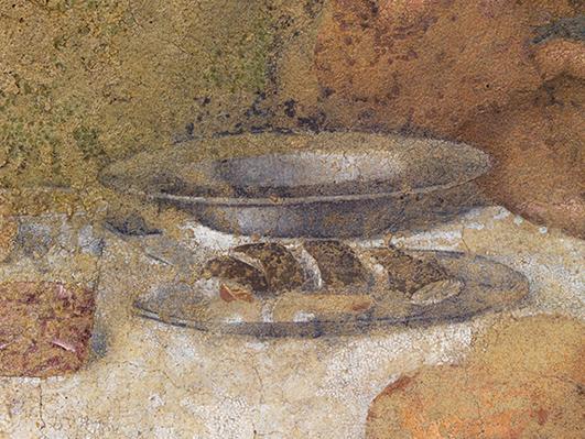 Leonardo da Vinci, Piatto di anguille, Particolare del Cenacolo di Santa Maria delle Grazie, Milano
