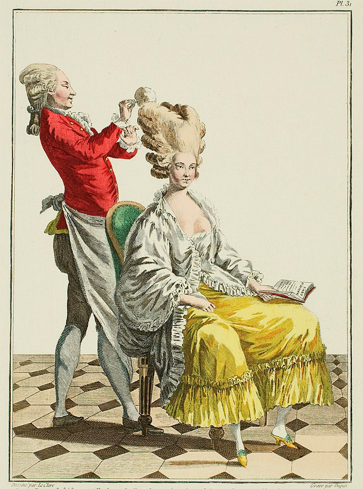 Signora dal parrucchiere, stampa di moda
