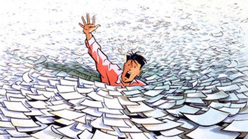 Businessman Drowning in Paperwork Whirlpool