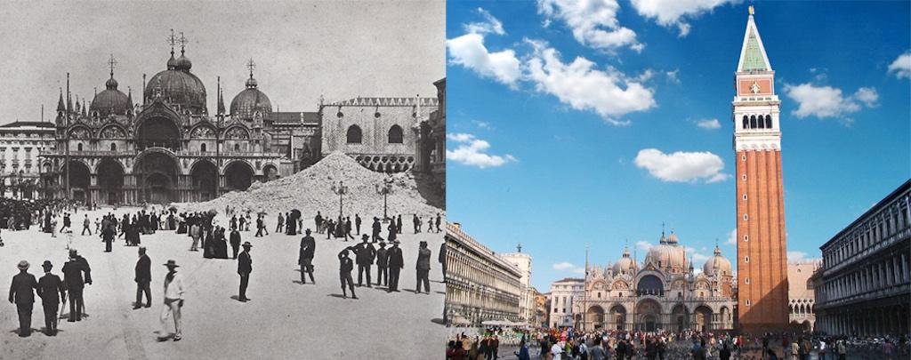 Il campanile di San Marco dopo il crollo e oggi