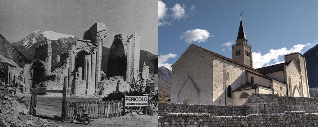 Il duomo di Venzone dopo il terremoto e oggi