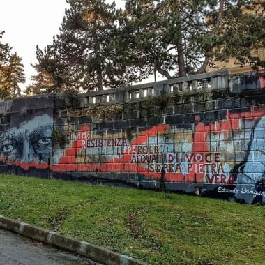 """Streetart aquilana. Ad un passo dal centro storico, """"annunciato"""" dalla Fontana Luminosa. Dicembre 2016.  Foto: Costanza"""