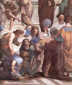 Gruppo di astronomi nella Scuola di Atene di Raffaello, 1510 - Stanza della Segnatura, Palazzi apostolici, Città del Vaticano  (un particolare, nell'immagine principale dell'articolo)