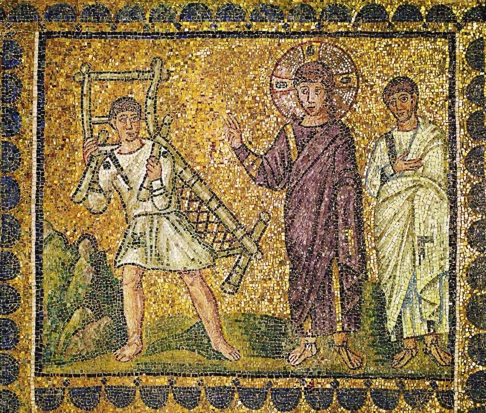 Gesù guarisce un paralitico, mosaico a Sant'Apollinare Nuovo (Ravenna)