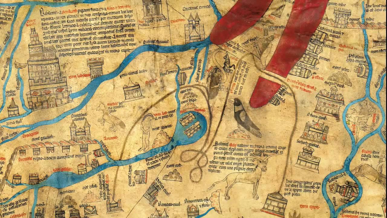Mappa di Hereford, dettaglio col mar Rosso e la Torre di Babele