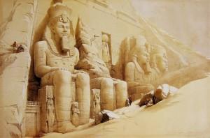David Roberts. Abu Simbel sommerso dalla sabbia
