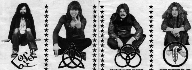 Jimmy Page, John Paul Jones, John Bonham e Robert Plant: ognuno col suo simbolo
