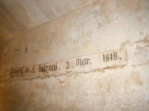 Firma di Belzoni nella piramide di Chefren
