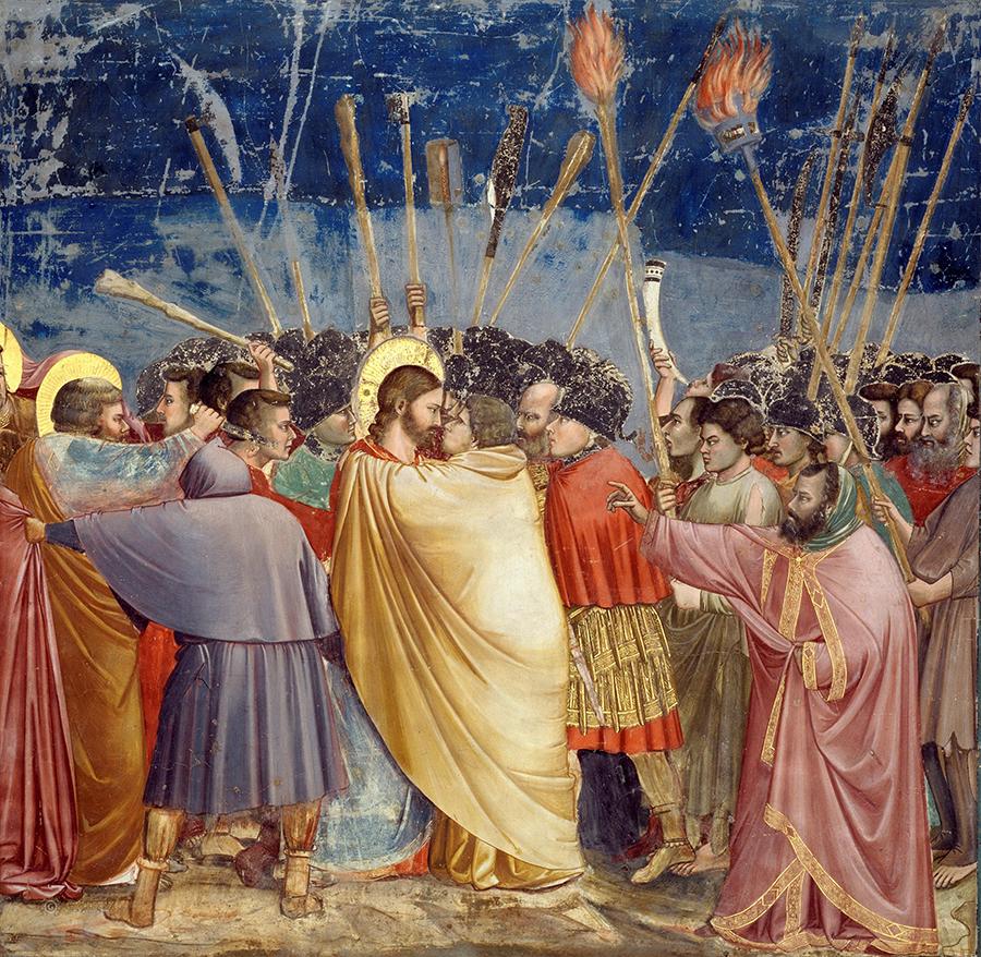 Giotto, Il bacio di Giuda, Cappella degli Scrovegni, Padova.