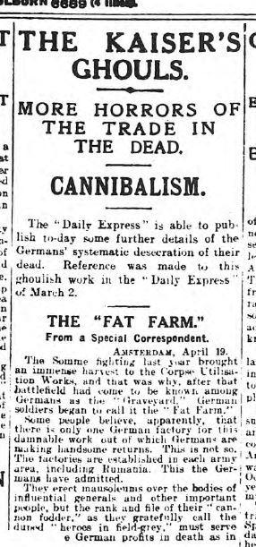 """Il """"Daily Express"""" accusa i tedeschi di cannibalismo."""