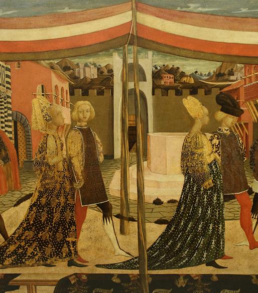 Dettaglio del cassone Adimari con scena di matrimonio