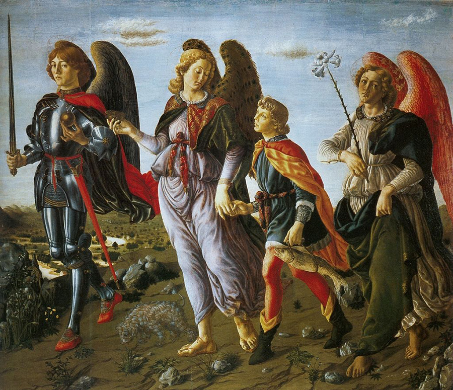 Francesco Botticini, tre arcangeli con Tobia