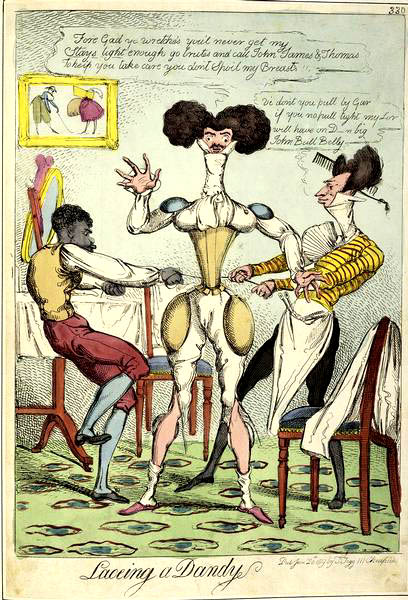 Caricatura i un dandy che si infila un corsetto