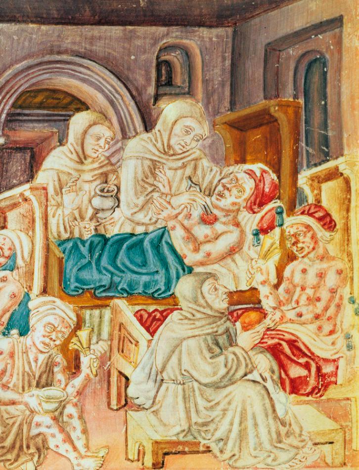 Malati di peste in una miniatura del XV secolo