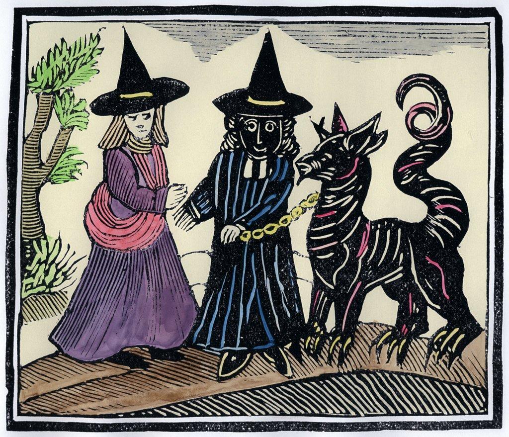 Due streghe e un diavolo in una xilografia
