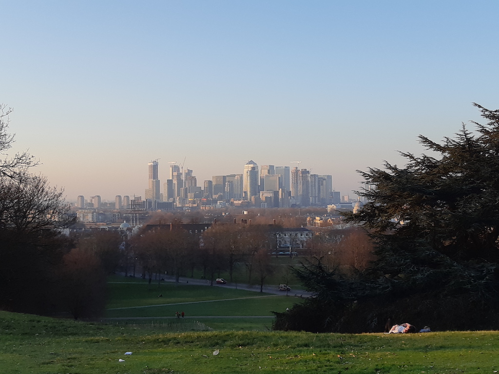 Skyline di Londra da Greenwich park