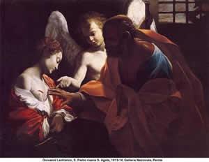 Sant'Agatha e San Pietro nel dipinto di Giovanni Lanfranco