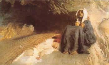 Riproduzione del famoso dipindo di Domenico Morelli in cui Sant Antonio deve resistere al richiamo della figa