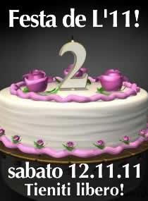 Locandina del grande party de L'11, alla simbolica data del 11.11.11