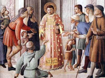 Beato Angelico: San Lorenzo distribuisce l'elemosina